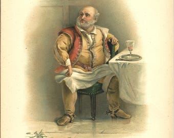 Shakespeare's Falstaff print from Raphael Tuck print- gift for actress actor special gift for actor – 2 sizes available with or without mat