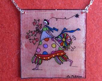 square pendant, colorful girl