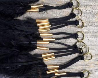 Black suede and feather tassel. Black and gold dangle keyring keychain splitring  attachment suede one piece