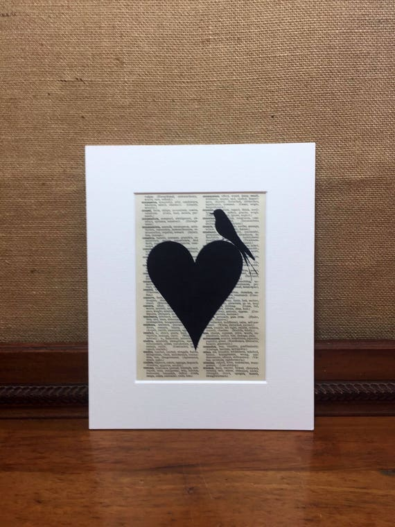 Romantic Heart and Bird Vintage Style Print | Dictionary Print | Book Page Print | Wall Art Print | Bedroom Decor | Shabby Chic Home Decor