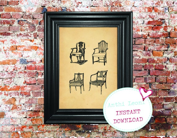 Pretty Antique Chairs Instant download | Vintage Old Paper Print Design | Old Chairs Book Page Illustration | Just Download and Print #0003