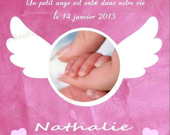 Pink birth announcement and wings of Angel - customizable