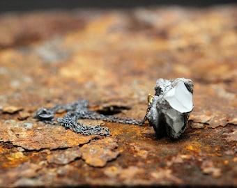 Black Concrete Rock Necklace | Oxidised Silver Necklace | Black Necklace | Rock Necklace