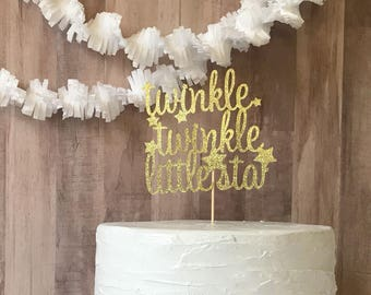 Gold twinkle twinkle little star cake topper/baby shower/birthday party