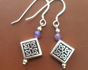 Amethyst celtic knotwork drop earring