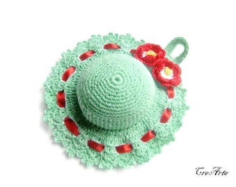 Aquamarine Crochet Pincushion, Handmade Pincushion, Sewing accessories, Puntaspilli acquamarina