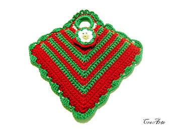 Crochet Christmas Potholder, Red and Green Potholder, Presina rossa e verde Natale