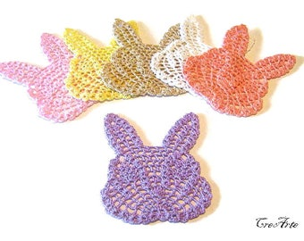 "Set 6 colorful crochet ""rabbit"" coasters, set 6 sottobicchieri colorati a forma di coniglio all'uncinetto"