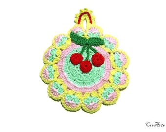 Colorful crochet potholder with Red cherries, presina colorata con ciliegie ad uncinetto