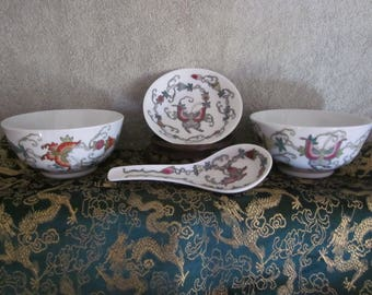Chinese Jingezhen Porcelain Rice Bowls, Spoon and Sauce  Bowl Butterfly  Hand Painted Details  Red  Mfg China Markings