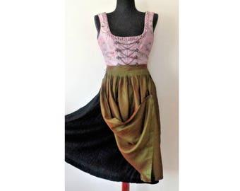 Dirndl Dress w/ Apron, Pink Black Dirndl Dress w/ Green Apron, German Dirndl, Austrian Dress, Bavarian National costume, Oktoberfest, Size S