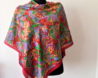Large Indian Silk Scarf, Colorful Silk Scarf, Vintage silk Shawl, Silk Stole, 44'' x 43'', 112cmx 110cm