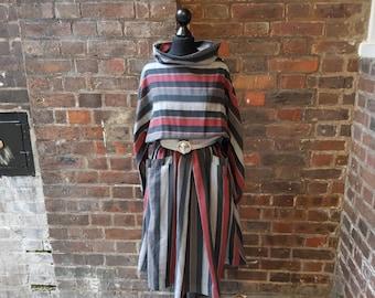 Vintage 1980s Striped Batwing Sleeved Dress