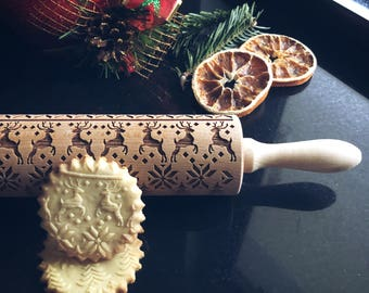 REINDEERS  rolling pin, embossing rolling pin, engraved rolling pin by laser