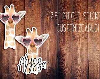 Fancy Giraffe Customizeable Diecut Sticker, Animal Diecut, Travelers Notebook Diecut, Planner Stickers, Planner Diecut