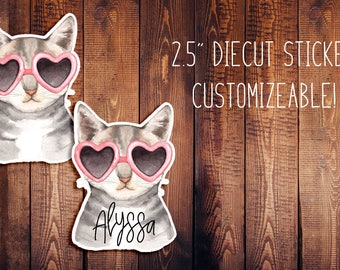 Fancy Cat Customizeable Diecut Sticker, Animal Diecut, Travelers Notebook Diecut, Planner Stickers, Planner Diecut