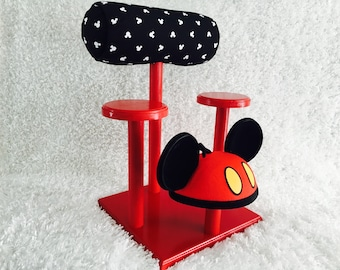 Mouse Ear Display and 3 Hat Holders- Different Fabrics and Base Colors Available
