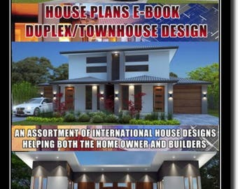 BEST SELLER - Duplex + Townhouse Book of Designs Over 50 Designs - Australian and International Home Plans- duplex floor plans- house plan