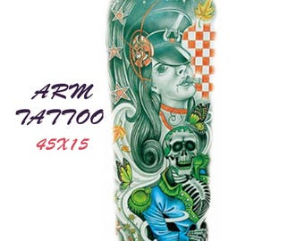 Old school colored tattoo sleeve  45X15 cm / temporary tattoo