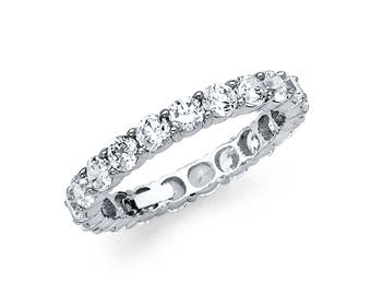 14k Solid White Gold CZ Eternity Band Stackable Ring Endless Wedding Band 3MM