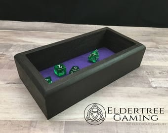 Premium Dice Tray - Personal Sized - Wenge with Felt or Leather Rolling Surface - Eldertree Gaming