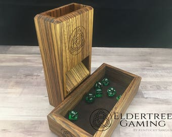 Premium Dice Tower with dice storage - Zebrawood - Eldertree Gaming