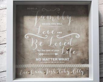 Personalised Family print with names and quote - Family gift - new home gift -framed print.