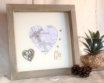 Map housewarming gift , new home map gift, Home sweet home, heart map frame , personalised map frame , rustic new home, first home gift
