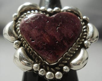 Heart Of Love Navajo Spiny Oyster Sterling Silver Ring
