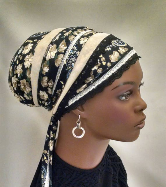 Floral neutrals sinar tichel, tichels, chemo scarves, head scarf, head wrap