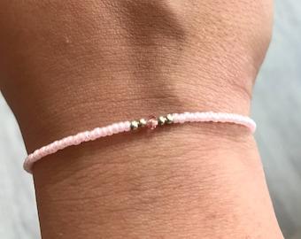 Baby pink Swarovski/miyuki bracelet, Swarovski bracelet, miyuki bracelet, pink bracelet, bridesmaids gift, Wedding favor, Christmas present