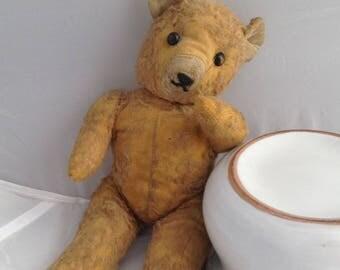 Antique Bear Teddy Bear Shoe Button Eyed Bear Articulated Bear Free Shipping ( Ref No. A324 )