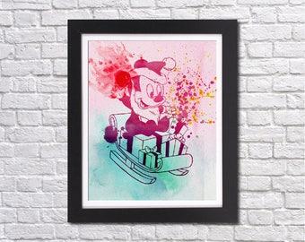 "Christmas baby Mickey watercolor Murals ,8""x10""  JPEG & PDF file , Inspirational Quote,Digital Prints,Wall Art Prints"