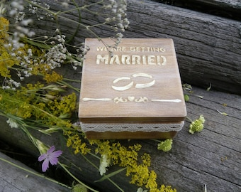 Rustic wedding box for ring Personalized box Wedding ring box Wooden rustic ring box Love wedding Bridal ring bearer box with moss