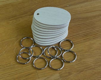 "Pack of 10 Birch Plywood Oval Key Fobs for Pyrography Woodburning and Crafts..entirely hand made ""FREE SHIPPING"""