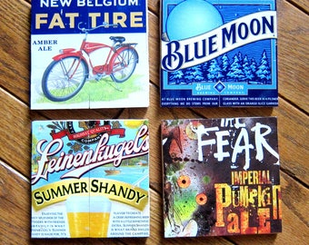Beer Coaster | Assortment of 4 | Ceramic Tile | Coaster Set