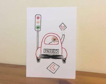 Handstitched Passed Driving Test Congratulations Card