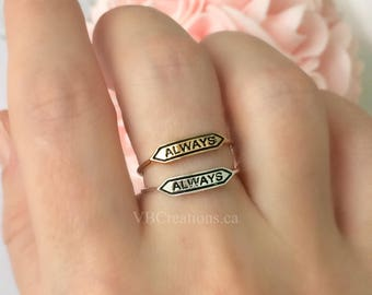 Harry Potter Ring - Harry Potter Jewelry - Always Ring - Always Jewelry - Dainty Ring - Silver - Gold - Harry Potter Fan - Sister Gift - BFF