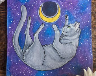 Cat and Moon - Original watercolor - Painting, gift, cat, animals, moon, stars, witch, fantasy, original,