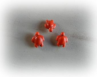 3 Orange 19 mm x 14 mm howlite turtle beads