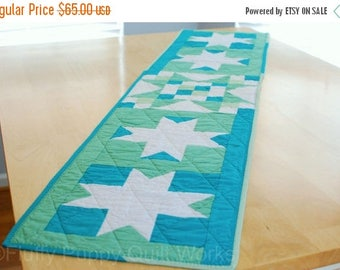ON SALE Blue and Green Table Runner, Quilted Table Topper, Spring Table Decor, Modern Star Table Runner, Teal Easter Table Mat