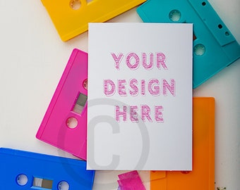 Cassette tape template/greeting card mockup/A6 card template/Card Mockup