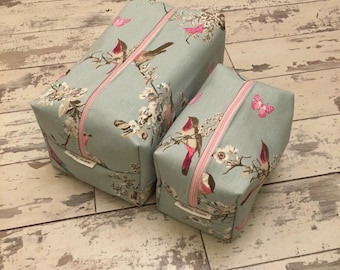 Handmade blue bird and cherry blossom wash bag and cosmetic bag set.