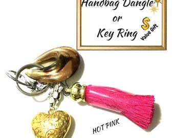 Hot Pink Tassel Key Ring, Copper Bag Charm, Gold Heart Dangle, Variety Key Ring, On Trend Gift, Stylish Gift,Valentine Gift