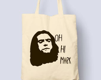 Designer Womens Oh Hi Mark Printed Cotton Natural Tote Bag
