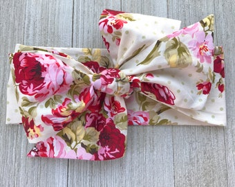 Floral Baby Head Wraps, Headwrap, Baby Headband, Toddler Headband, Baby Bow, Oversized Bow, Mommy and Me, Fabric Headwrap - Victorian Rose