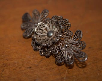 Gorgeous Filigree Brooch, Antique Jewelry, Shawl Pin,