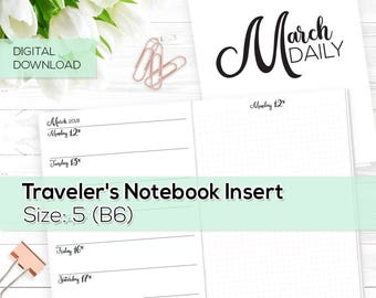 Day on 1 Page - TN Inserts - March 2018 - B6 / Size No. 5 | TN-DO1P-MAR-5-D Digital Download Printable