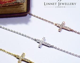 Cross Bracelet Cz 925 Silver Yellow Rose Gold