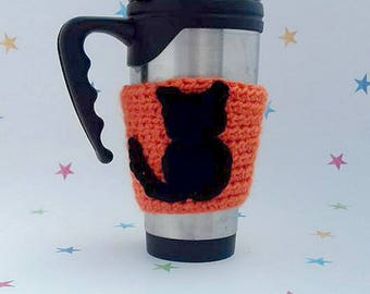 Cat Mug Sleeve, Tea Cosy, Commuting Gift, Eco Friendly, CatLover Gift, Pussy Cat Applique, Travel Cup Sleeve, Chunky Crochet Gift, Black Cat